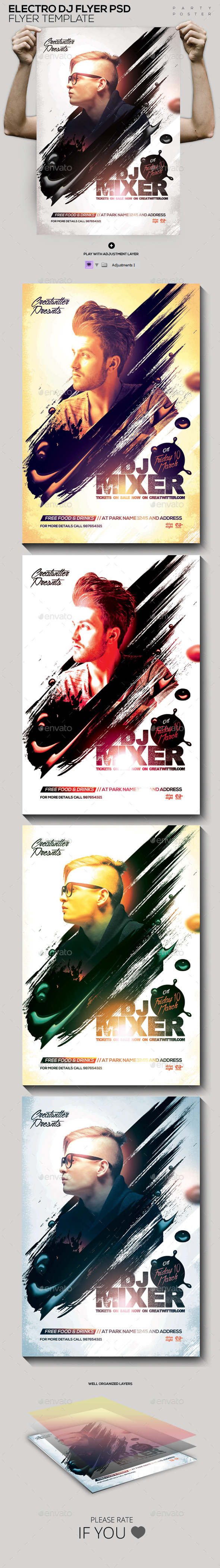GraphicRiver Electro DJ Flyer PSD 11882941