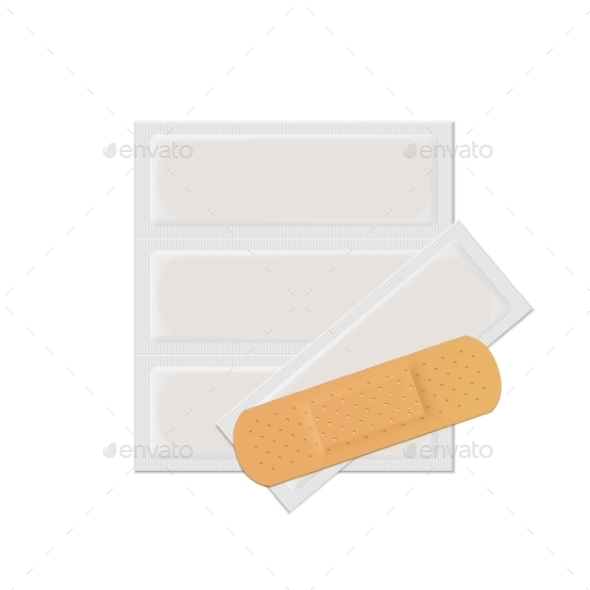 GraphicRiver Vector Bandage Plaster Aid Band Medical Adhesive 11883242