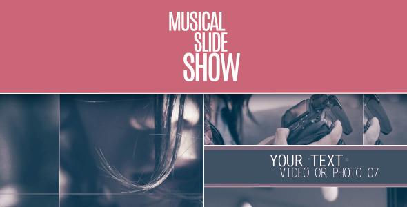 AE模板: 明亮干净 动态图片排版设计 画廊 家庭生活照片展示  幻灯片栏目包装模板Musical Slideshow  免费下载