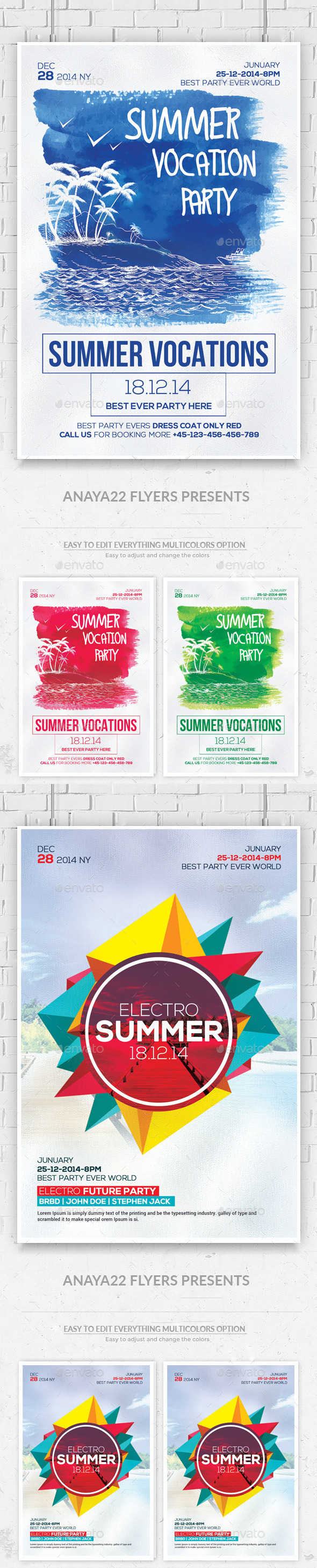 GraphicRiver Summer Party Flyers Bundle 11883765