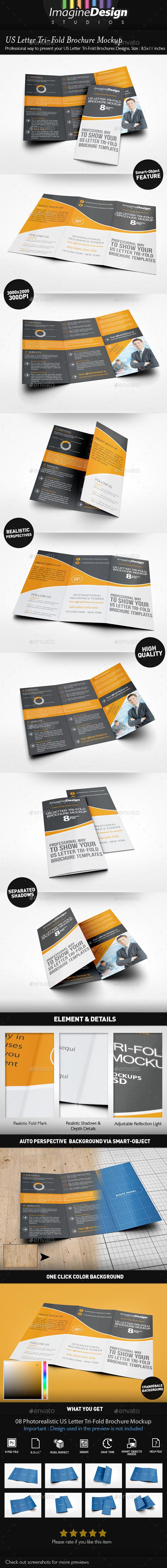 GraphicRiver US Letter Tri-Fold Brochure Mockup 11883833