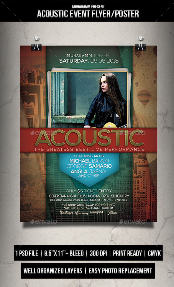 GraphicRiver Acoutic Event Party Flyer Poster 11884175