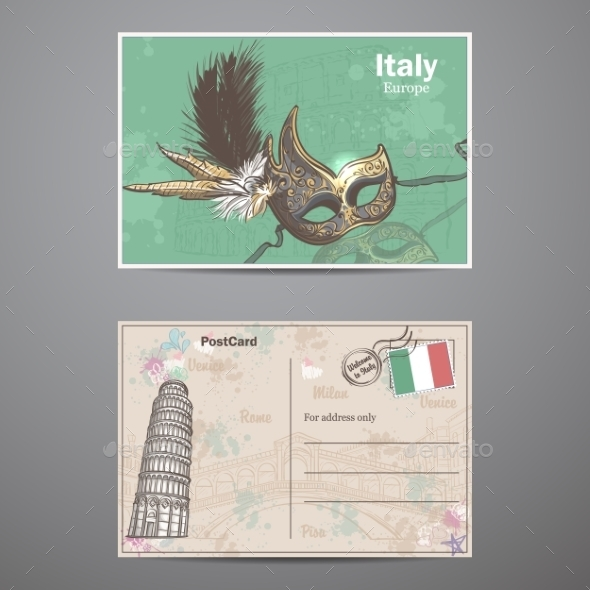GraphicRiver A Set Of Two Sides Of a Postcard Italy 11884183