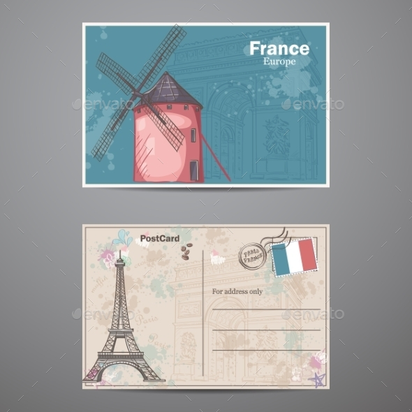 GraphicRiver A Set Of Two Sides Of a Postcard France 11884186