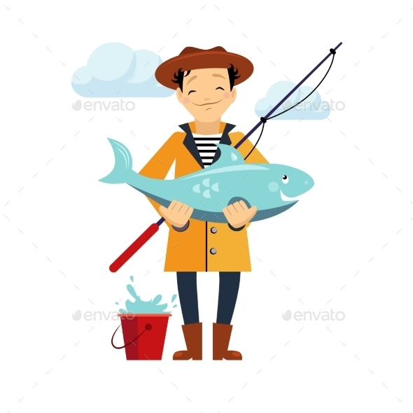 GraphicRiver Fisherman And Fish Vector Illustration 11884426