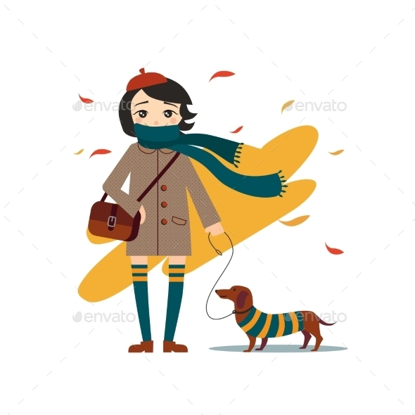 GraphicRiver Young Girl Walking With Dog 11884428