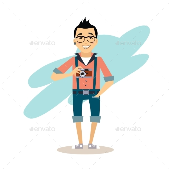 GraphicRiver Creative Photographer Flat Illustration 11884432