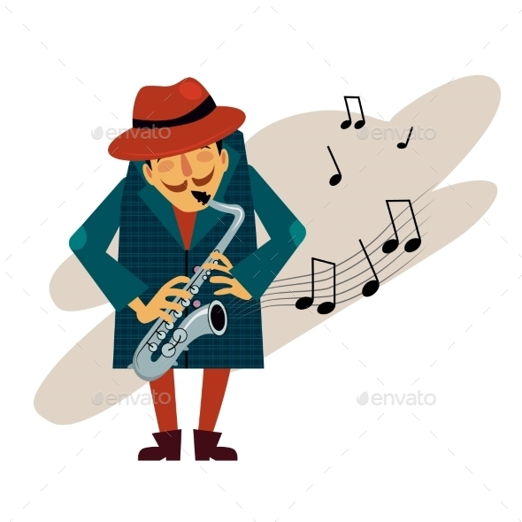 GraphicRiver Saxophonist Playing Love Melody Vector 11884435