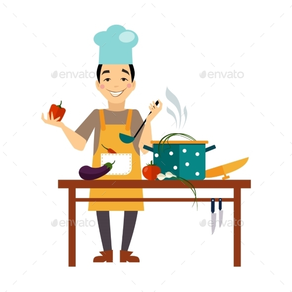 GraphicRiver Chef Cooking Food 11884438