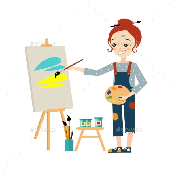 GraphicRiver Artist Woman Painting On Canvas 11884439