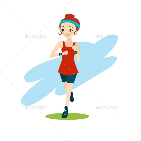GraphicRiver Illustration Of a Cartoon Girl Running 11884442