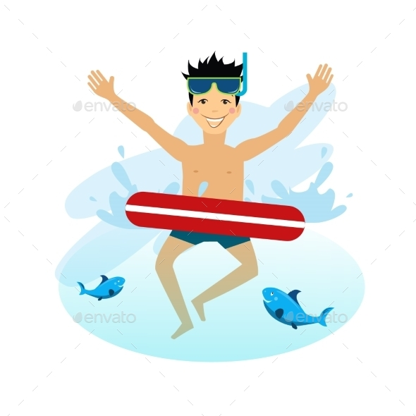GraphicRiver Boy Swimming With Inflatable Circle 11884445