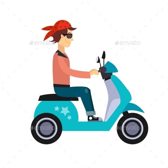GraphicRiver Hipster Young Man Characters Riding Fast Retro 11884447