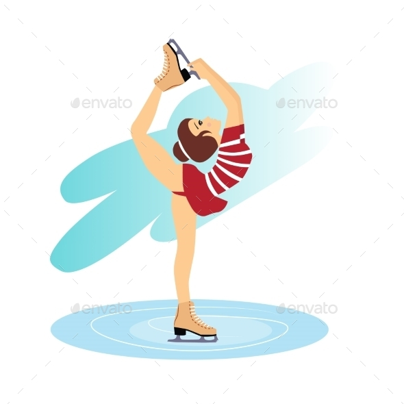 GraphicRiver Figure Skating Cute Girl Training On The Ice 11884450
