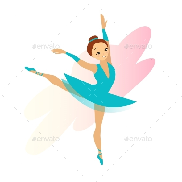 GraphicRiver Cyan Ballerina Girl Isolated On White 11884456