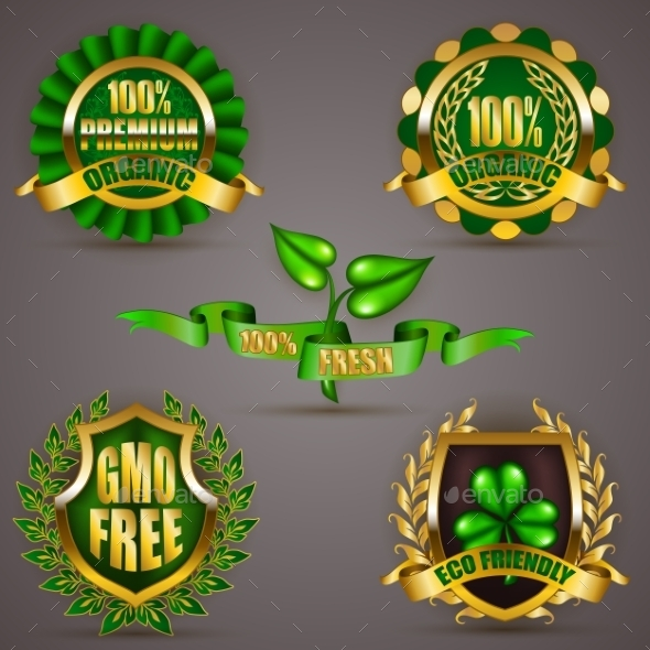 GraphicRiver Golden Badges With Laurel Wreath 11884915