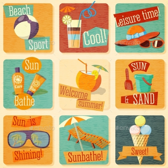 GraphicRiver Set Of Retro Stylized Summer Icons 11885207