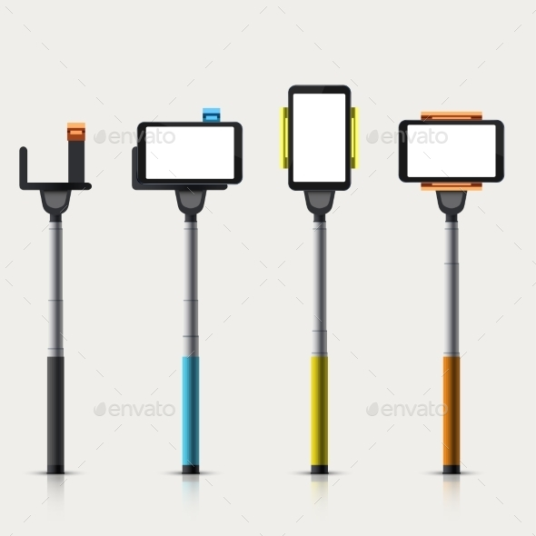 GraphicRiver Vector Set Of Modern Monopod For Self 11885212