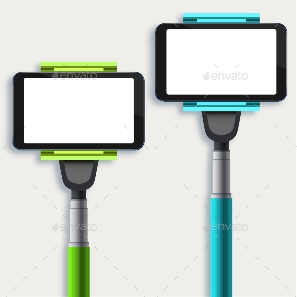 GraphicRiver Vector Set Of Modern Monopod For Self 11885217