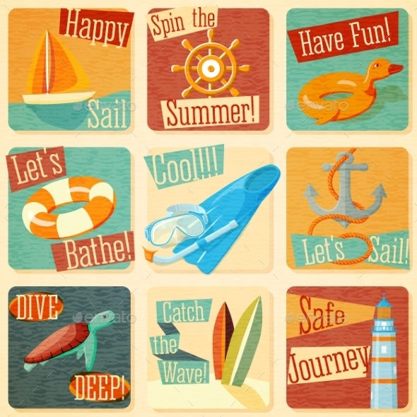 GraphicRiver Set Of Retro Stylized Summer Icons 11885225