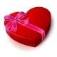 Vector Realistic Blank Bright Red Heart Shape Box
