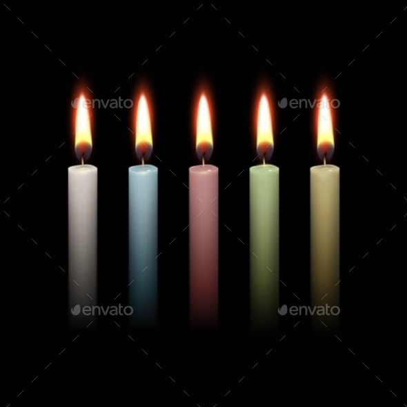GraphicRiver Candles Flame Fire Light Isolated Background 11885428