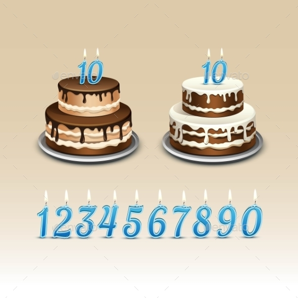 GraphicRiver Birthday Cake With Candles Numerals 11885503
