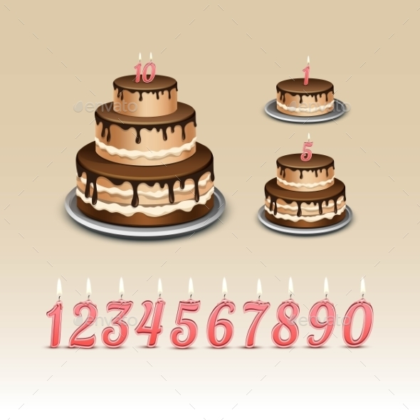 GraphicRiver Birthday Cake With Candles Numerals 11885505