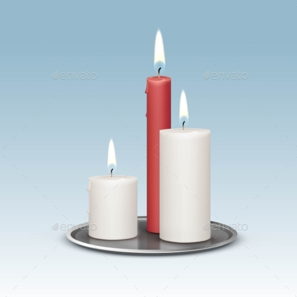 GraphicRiver Candles On The Metal Candlesticks Trays 11885514