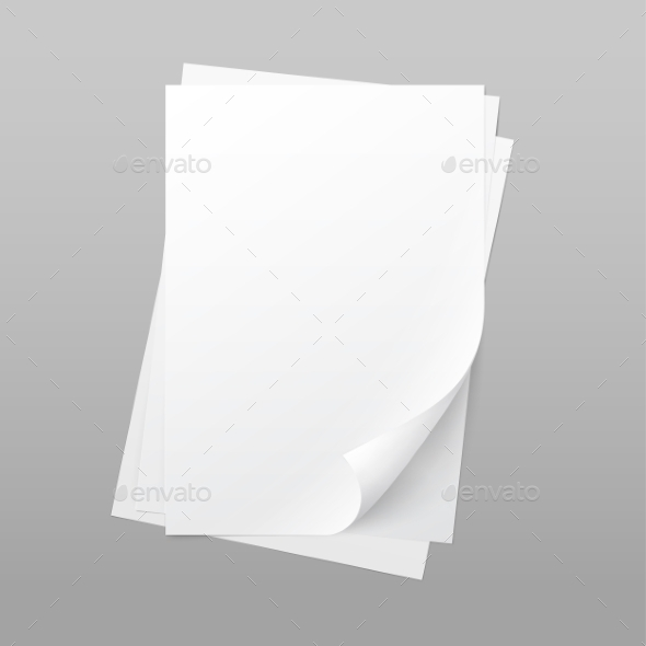 GraphicRiver White Blank Paper Page Sheet with Corner Curl 11885581