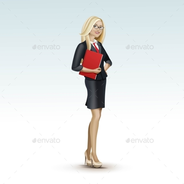 GraphicRiver Blonde Business Woman Girl In Suit And Glasses 11885911