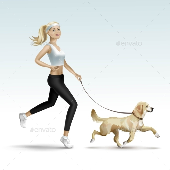 GraphicRiver Blonde Woman Jogging with Dog 11885914