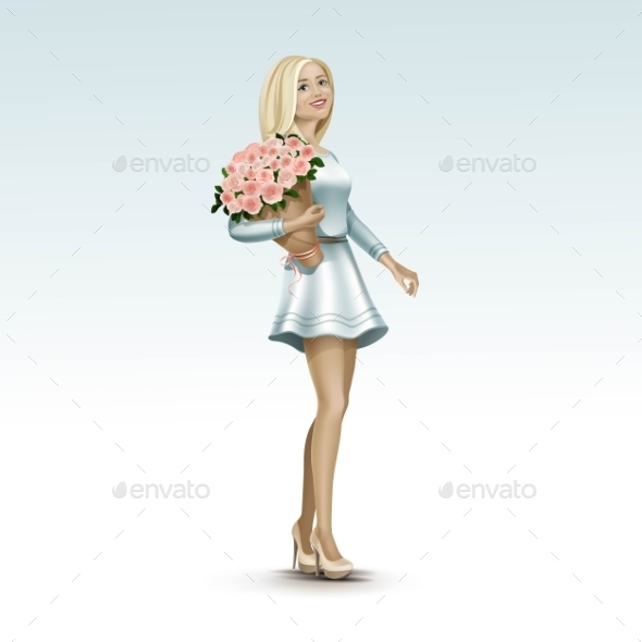 GraphicRiver Blonde Woman Girl In Dress With Flowers 11885918