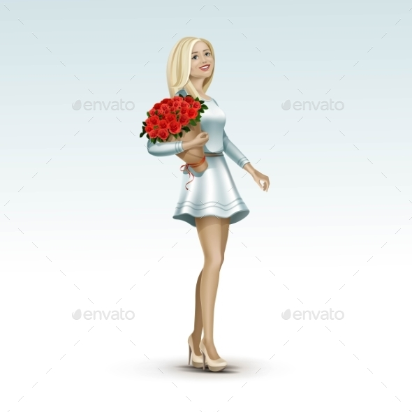 GraphicRiver Blonde Woman Girl In Dress With Flowers 11885919