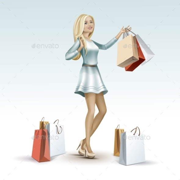 GraphicRiver Blonde Woman Girl In Dress With Shopping Bags 11885927