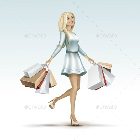 GraphicRiver Blonde Woman Girl In Dress With Shopping Bags 11885930