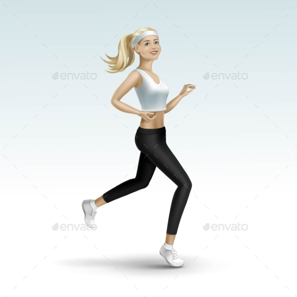 GraphicRiver Blonde Woman Girl Female Running Jogging 11885935