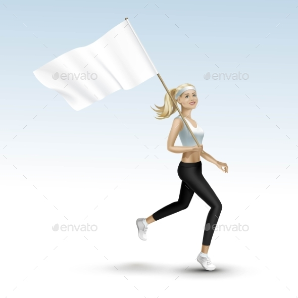 GraphicRiver Blonde Woman Jogging with a Flag 11885936