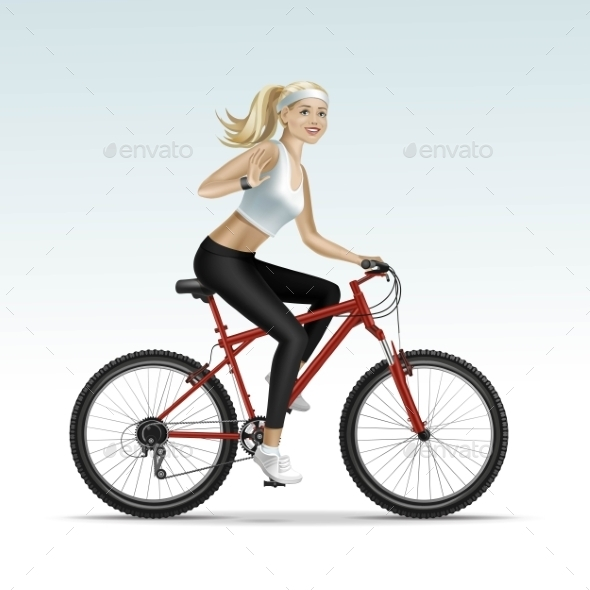 GraphicRiver Blonde Woman Riding a Bicycle 11885937