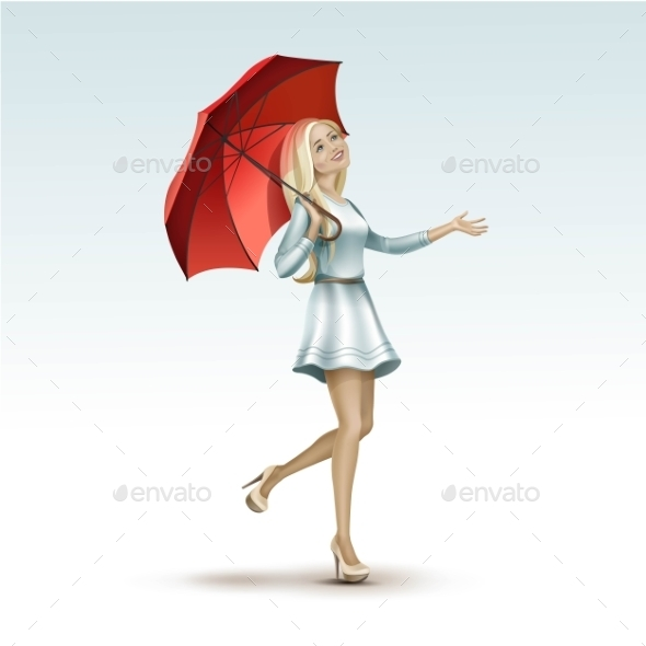GraphicRiver Blonde Woman Under a Red Umbrella in Dress 11885940