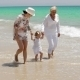 Grandma  Mom And Little Girl Walking At The Beach - VideoHive Item for Sale