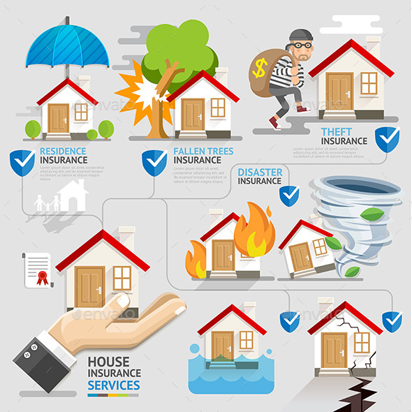 GraphicRiver House Insurance Service Icons Template 11886512