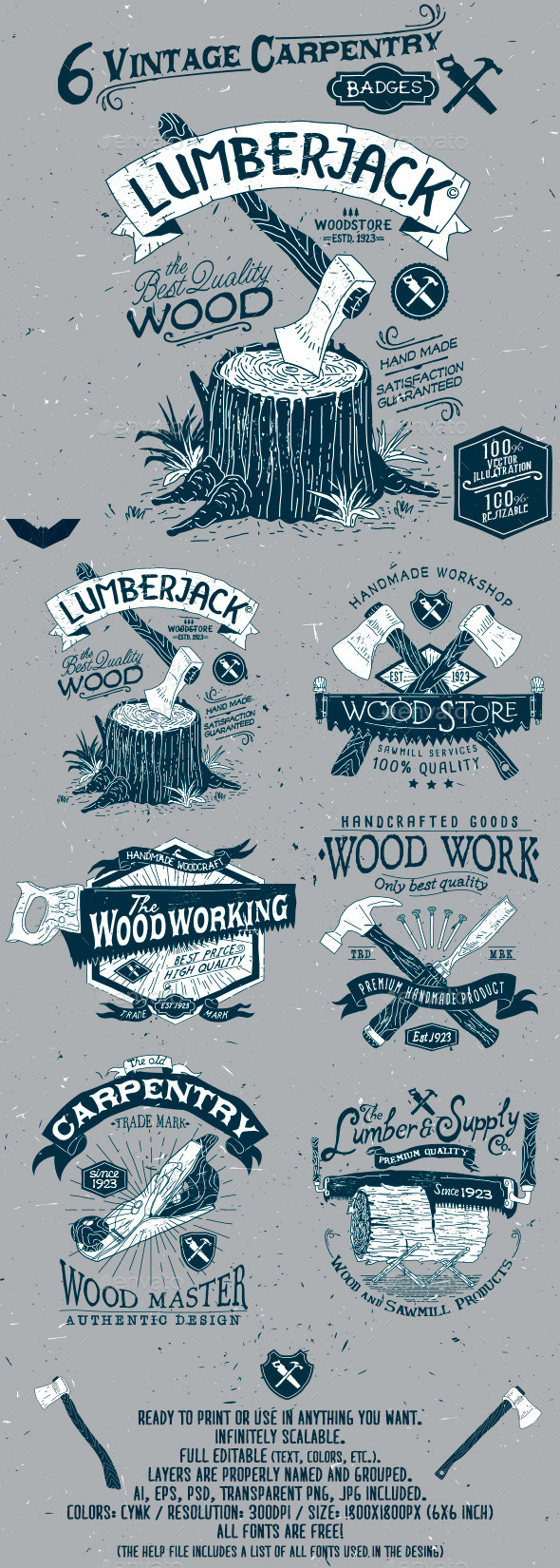 GraphicRiver 6 Vintage Carpentry Badges 11886637