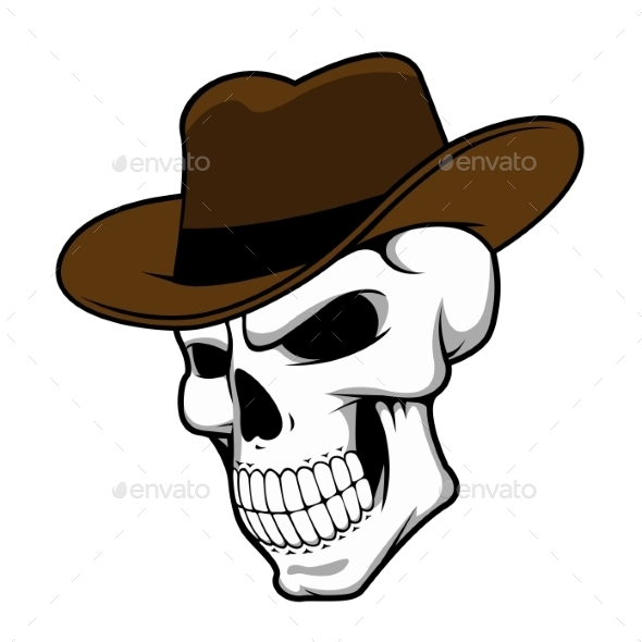 GraphicRiver Cowboy Skull Wearing a Stylish Fedora Hat 11886728