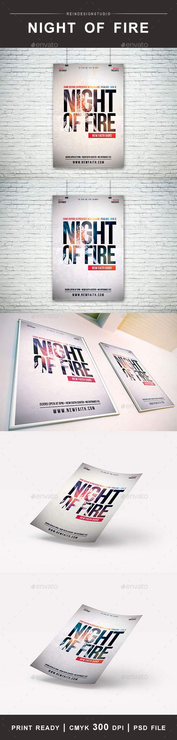GraphicRiver Night of Fire Church Flyer 11887236