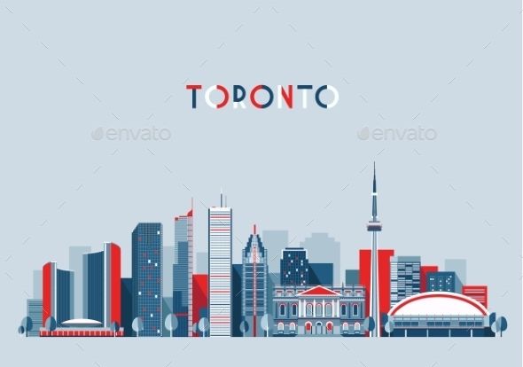 GraphicRiver Toronto Canada City Skyline Flat Trendy Vector 11887510