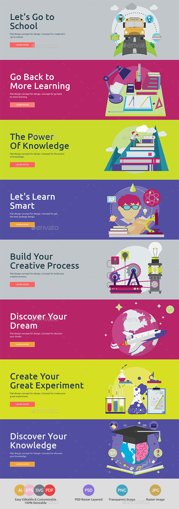 GraphicRiver Flat Concept Banners for Education 11888171