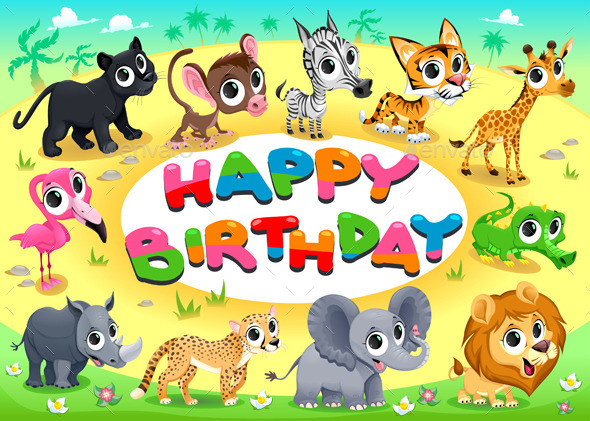 GraphicRiver Happy Birthday Card with Jungle Animals 11888311