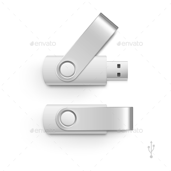 GraphicRiver USB Flash Drive Stick Memory Vector Set Isolated 11888462