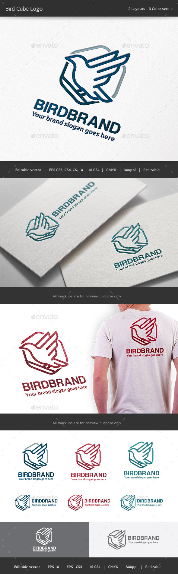 GraphicRiver Bird Cube Logo 11888500